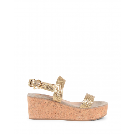 Salvatore Ferragamo Damen Wedge Sandale Gold EURITEA