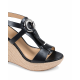 Michael Kors Womens Wedge Sandal Black DARIEN