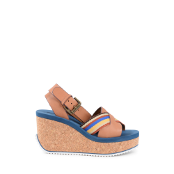 Chloè Damen Wedge Sandale Multicolor SB30144 CUOIO MULTI