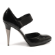 Sebastian Milano ladies side cross strap pump 3215 BLACK SPAZZOLATO NERO